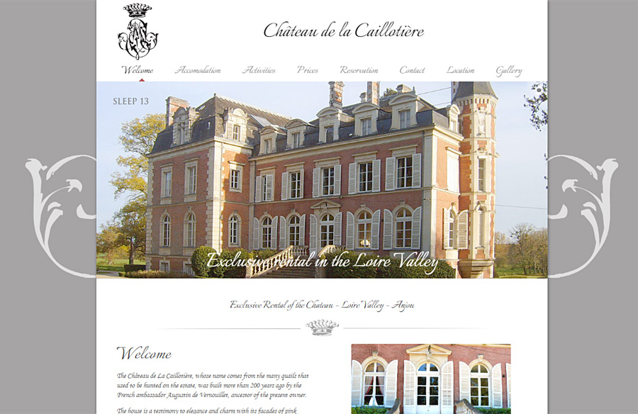 Château de la Caillotière website developed by Double-U-Solutions